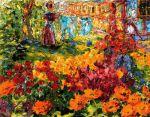 Nolde, Jardín de flores (muchacha y colada) [Blumengarten (Mädchen und Wäsche)], 1908