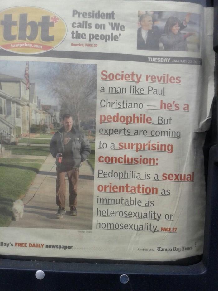 nota periodística sobre persona pedófila